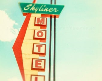 Color Photography, retro wall decor, vintage motel sign art print, Route 66, road trip, whimsical, pastels, mint green, red, motel wall art