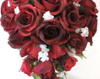 Black Tip Dark Red Burgundy Silk Roses Cascade / Teardrop Wedding Bridal Bouquet