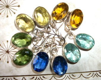 Sale 12 carat Topaz  Sterling Silver earrings- Choose your color