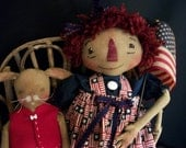 Primitive Americana doll pattern, 16 inch and 9 inch dolls, by Dumplinragamuffin,HAFAIR,OFG