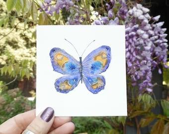 Imperial Purple Butterfly, original mini watercolor
