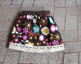 Retro Flowers skirt for Littlefee / bjd doll same size