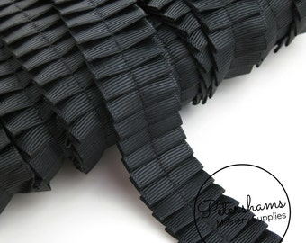 1 inch (2.5cm) Pleated Black Grosgrain Ribbon for Millinery, Hat Trimming - 1 yard