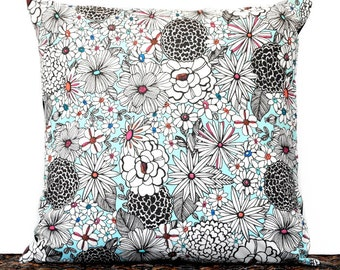 Sale 10.00 Retro Floral Pillow Cover Cushion Mod Turquoise Black White Pink Orange Blue Repurposed Decorative 16x16
