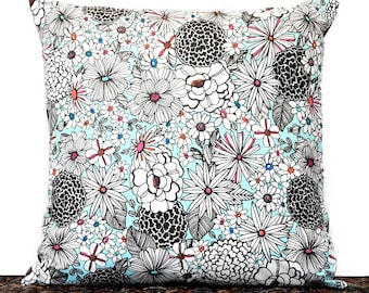 Retro Floral Pillow Cover Cushion Mod Turquoise Black White Pink Orange Blue Repurposed Decorative 16x16