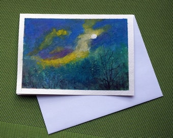 Moonlight -   Hand Painted Abstract watercolor Greeting Card