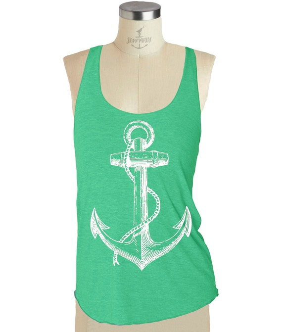 ANCHOR TANK TOP --- Womens Tri-Blend Racerback tank top S M L (8 Color Options) skip n whistle