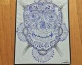 Framed Sugar Skull Sketch
