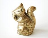 Vintage Brass Squirrel Statue