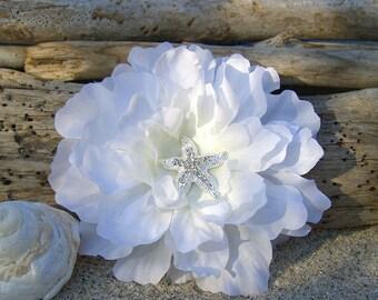 Beach Wedding Starfish Floral Hair Fascinator-SIMPLY WHITE-Starfish Hair Clip, Bridal Hair Flower, Destination Wedding Hair, Weddings, Ocean