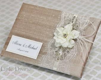 Vintage Inspired Champagne Wedding Guest Book Custom Made in your Colors