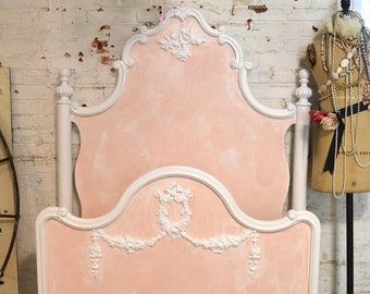 French Bed Painted Cottage Marie Antoinette Romantic Full / Twin Bed