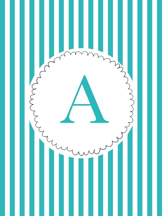 Letter A Monogram Baby Nursery Art Stripes Print - wall decor poster, baby nursery kids playroom dorm wedding family, typography, custom