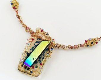 Gold Woven Fused Glass Pendant Necklace