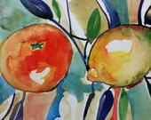 Watercolor lemon and clementine still life art sketch painted modern art on paper hand made by Mary Vargas