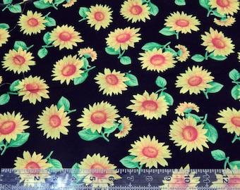 "Sunflowers ""medium"" Cotton Fabric by the Yard"