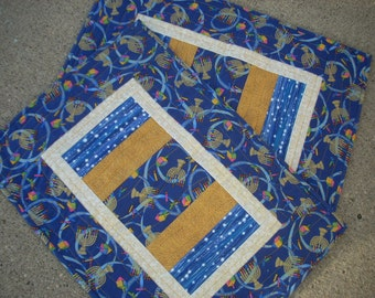 Gold and Blue for Hanukkah placemats - FREE SHIPPING