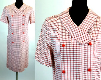 1960s dress red white plaid double breasted shift dress Size Size S/M
