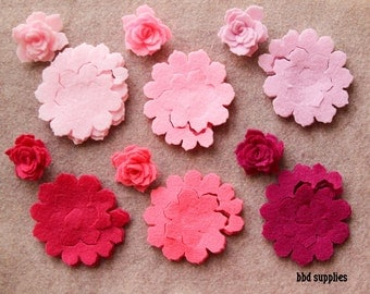 Perfectly PInk- Tattered 3D Rolled Roses - 12 Die Cut Acrylic Felt Flowers - Unassembled Rosettes