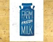 Farm Fresh Milk Art Print | Kitchen Art Print | Blue | 11x14 | Made in the USA | AP 035