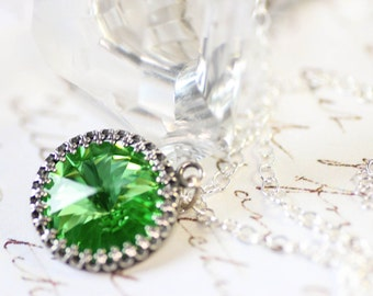 Emerald Green Necklace with Fern Swarovski Crystal on Sterling Silver Chain Crown Set