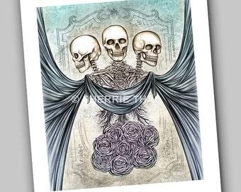 Unordinary Wonders, Skeleton Trio with Roses, Dark Gothic Art Print, Sale