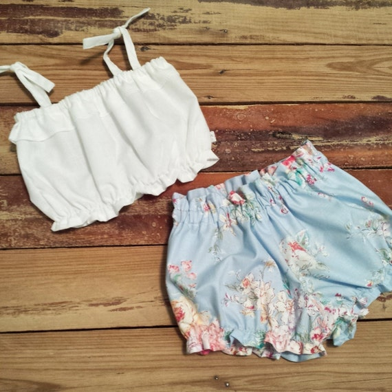 White Crop Top And Blue Floral Shorties Baby By Lillaineybug-4248