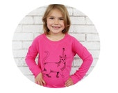 Cat With Unicorn Horn Youth Girl's Frech Terry Lightweight Sweatshirt in Hot Pink, Caticorn, Fantasy Animal, Long Sleeved Cozy Girls Clothes