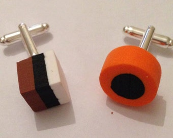 Funky pair of Brown and orange liquorice all sorts polymer clay cufflinks