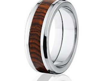 New Cocobolo Wood Rings, Exotic Hard Wood Wedding Band w/ Comfort Fit: 8B_Cocobolo Wood
