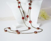 Elegance in Red/Ruby Red Glass Retro Long Necklace/42 Inches long Retro Necklace/40's Inspired Necklace