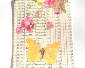 Butterfly Tags - Set Of 4 -  Yellow Butterfly - Spring Tags - Garden Tags - Vintage Look - Butterfly Garden - Thank Yous -  Cottage Chic