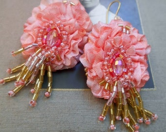 Textile earrings ,wrinkled ribbon  lightweigt, Peony and little beads
