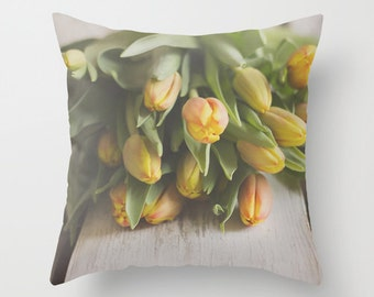 Decorative pillow cover,Spring bouquet pillow, shabby chic throw pillow, yellow white green pillow cover, unique living room decor