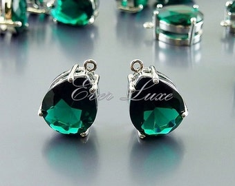 2 emerald green faceted teardrop glass charms in brass setting, wedding / bridal jewelry 5067R-EM (bright silver, emerald, 2 pieces)