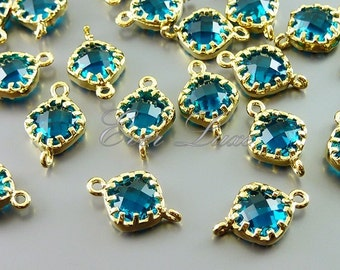 4 sea green and gold accents for jewelry - connectors with sea green colored glass 5061G-SG