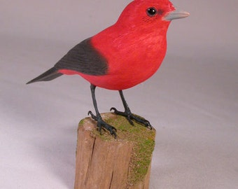 Scarlet Tanager Wooden hand Carved and Hand Painted Bird