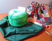 Country Quilt & Forest Green Reversible Drawstring Project Bag