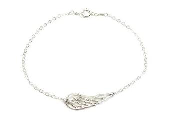 Angel Wing Bracelet, Sterling Silver or Gold Filled and Bronze, celebrity inspired
