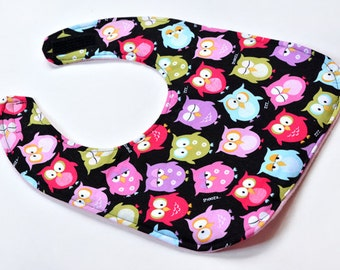 Cute Owls Toddler Girl Bib Baby Bibs Toddler Gift Feeding Bib Drool Bib Baby Gift