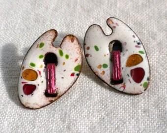 Matisse Palette Earrings Copper Enamel Renoir