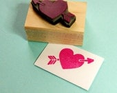 Heart and Arrow Rubber Stamp