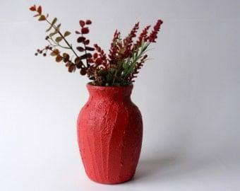 Red Orange Vase / Autumn Red Home Decor / made to order / flower vase / red home decor