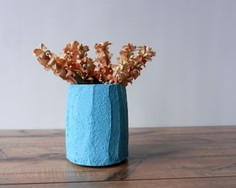 small turquoise vase / short vase / turquoise Home Decor / blue home decor