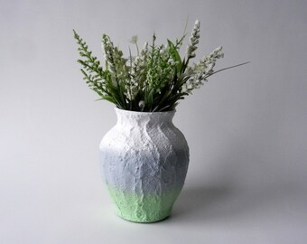 Grey, white, and Mint  Vase /  concrete and glass handcrafted vase