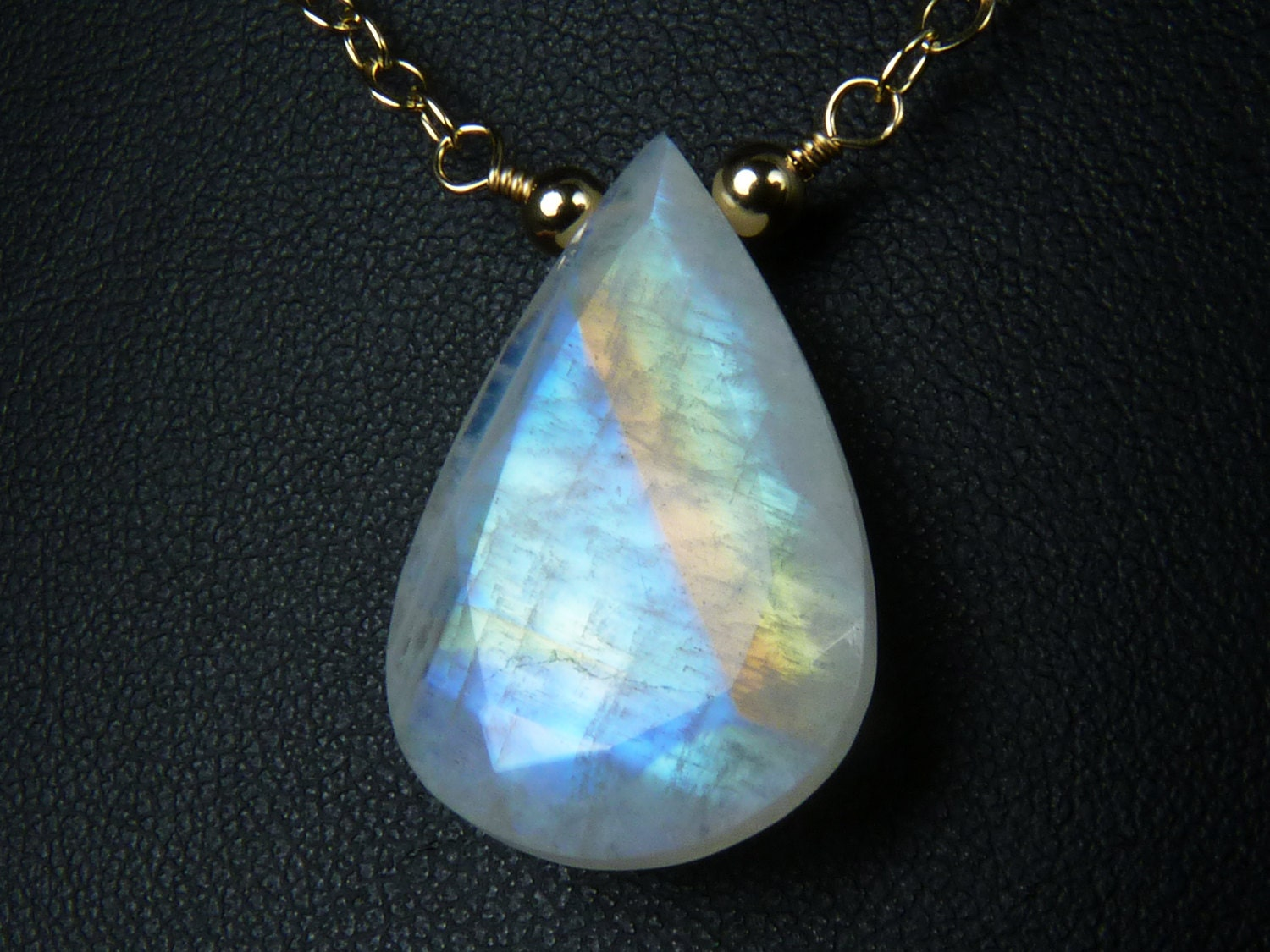 large rainbow moonstone faceted pendant necklace vibrant sky
