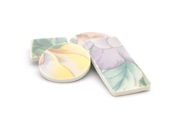 Broken China Magnet - Upcycled - Recycled Plate - Pastel Leaves and Flowers - Set of four