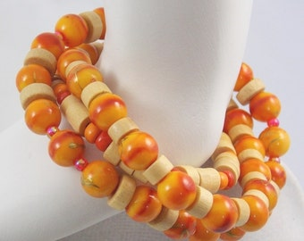 Orange Wood Boho Layer Beach Bracelets Natural Wood Orange Beaded Bracelets Stack Bracelets