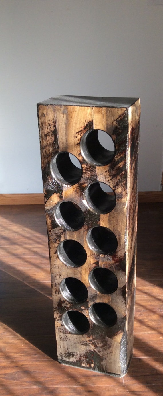 Wine Rack From Reclaimed Farm House Beam