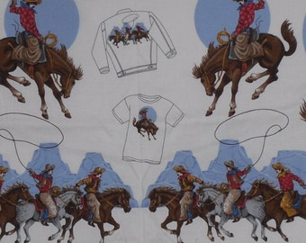 Cowboy Fabric~Applique Cut and Sew~Bucking Broncos~Horses~Cotton~Novelty~Quilting~Crafting Fabric Panel